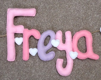 Baby/Child's felt name banner Heart Theme Made to Order