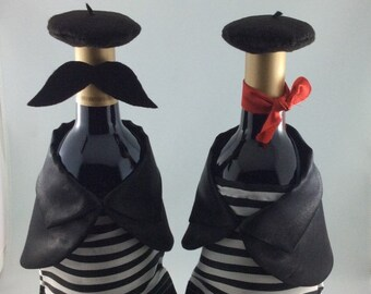 Black and White Wine Bottle Covers with Paris Theme, His and Hers Wine Bottle Decor