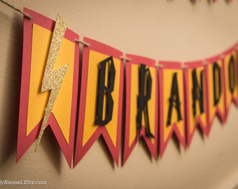 Harry Potter Birthday Banner, Harry Potter Party, Name Banner, Wizard Party Decor, Glitter Lighting Bolt, Sorting Hat, Gryffindor Colors