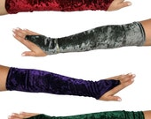 Pointy Over Hand Long Gloves - Velvet or Lace