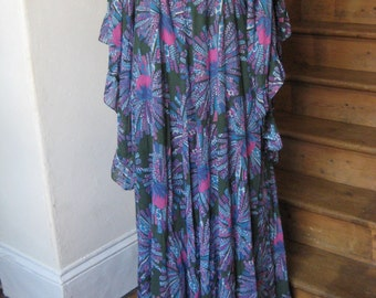 70's Cotton Empire-Line Maxi Dress with Angel Wings