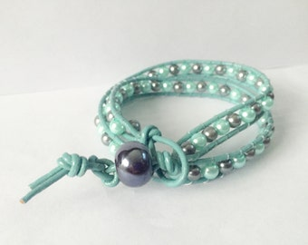 Gray and Mint Pearl Beaded Wrap Bracelet