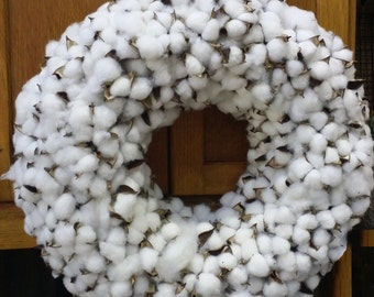 18 inch Cotton wreath , wedding wreath , round cotton wreath ,white cotton wreath, cotton bolls, mirror wreath ,table wreath