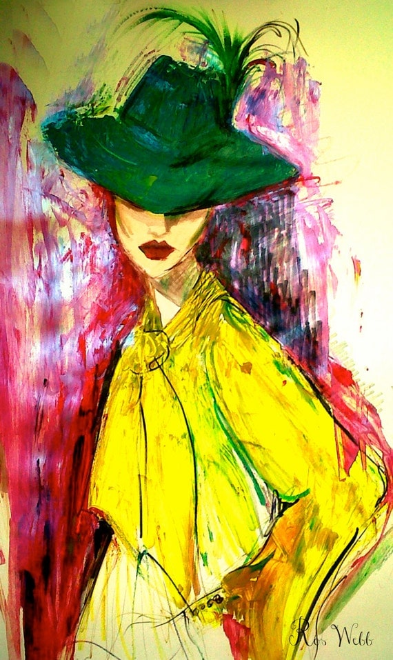 "Yellow Shirt, Green Hat, Fashion Illustration, Wall Art, Fashion Print, Instant Download, Printable Art, 8.5"" x 11"", PDF, Art, Wall Decor"
