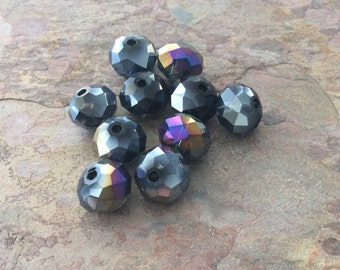 25 Iridescent Faceted Glass Rondelle Beads, Steel Blue, AB finish, 10x7mm
