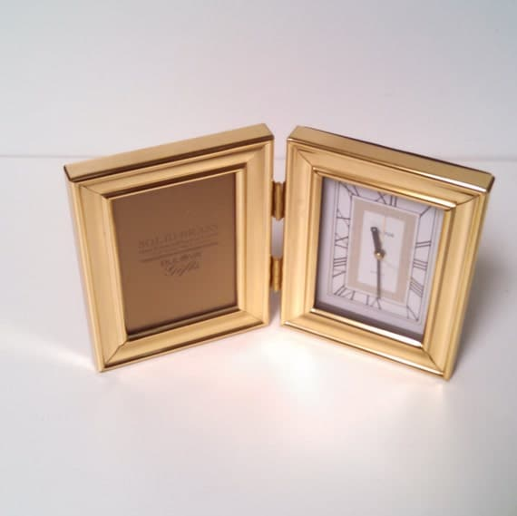 Clock And Picture Frame Bulova Solid Brass Office Desk Home