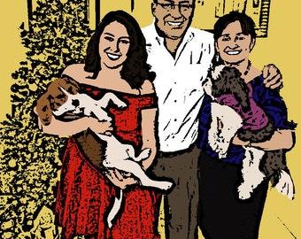 Family Portrait // Custom Pop Art Portrait // Christmas Gift