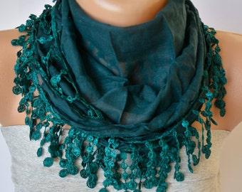 Emerald Green Cotton Scarf- Emerald Green Cotton with Lace Trim Scarf- Boho Scarf- Headband