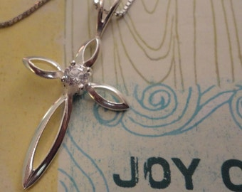 Sterling Silver Crystal Cross Pendant Necklace