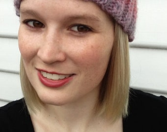 Knitted pink and grey beanie 100% Australian wool