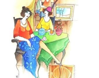 Original  Watercolor  by Itzchak Tarkay
