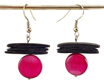 Black and fuchsia earrings