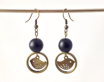 Bird earrings antique brass