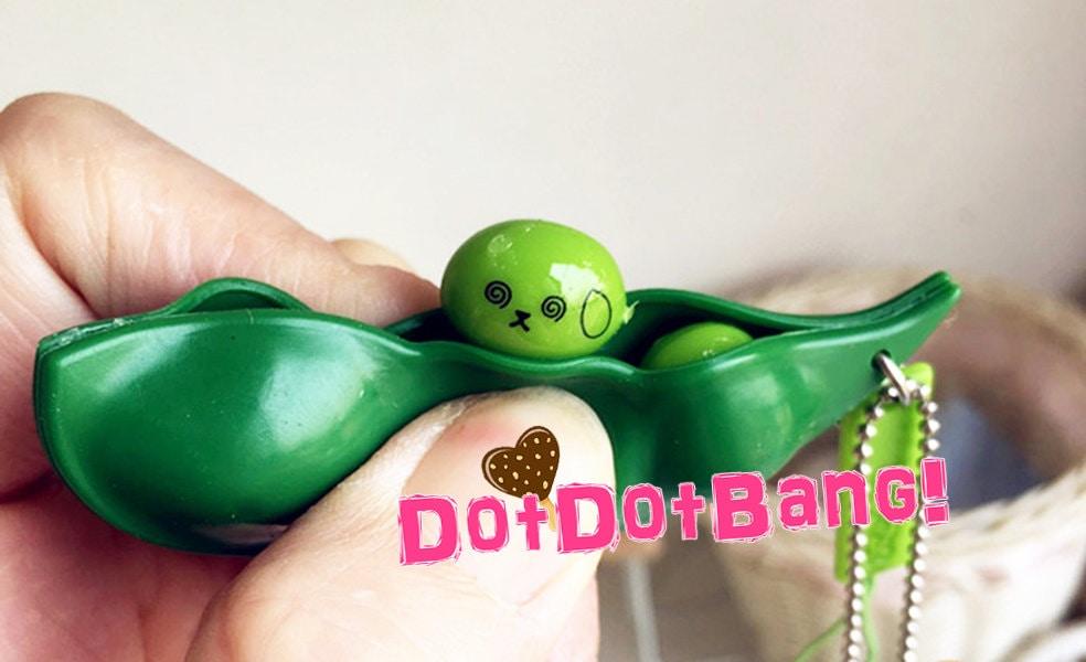 Green Bean Squeeze Toy 7cm Cute Kawaii Emoji Squishy by DotDotBang