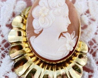 Shell Cameo, Art Deco cameo, Carved sell cameo, Woman cameo, Gold filled, antique Cameo, Antique Cameo, Art Deco shell cameo