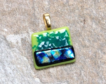 Lime Green Fused Glass Pendant Necklace  with Dichroic Bar of Blue and Green Gift for Her Pendant #12