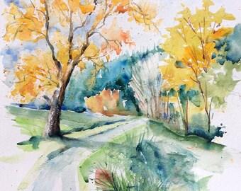 "Watercolour original ""The path in autumn"""