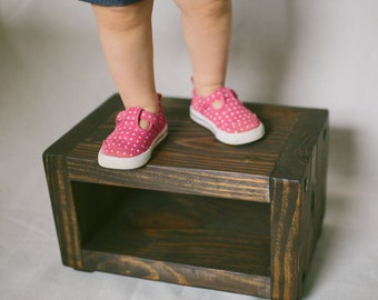Rustic Wood Stool / Wooden Step Stool / Stepping Stool / Kitchen Stool / Toddler Stool / Rustic Stool