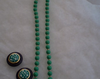 Vintage Necklace and Button Earrings