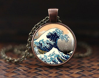 The Great Wave of Kanagawa Necklace, Japanese Art Pendant, Japan The Great Wave, Hokusai, Japanese Wave necklace, glass dome pendant