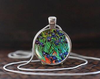 Van Gogh Blue Irises Necklace, Vincent van Gogh still life, Post-Impressionist Necklace, classical art gift