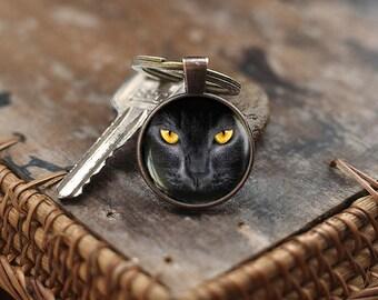 Black cat Keychain, Black cat yellow eyes, cat Keychain, black cat jewelry, Cat Lover Gift Keychain