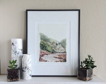 "Watercolor Landscape Print - 11"" x 14"""