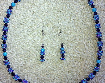 Handcrafted Turquoise, Resin, Glass and Metal Bead Necklace & Matching Earrings