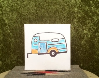 HAND-DRAWN Vintage Inspired Trailer Canvas Art