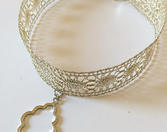 Silver Lace Choker Necklace with Charm | Silver Choker | Choker with Charm