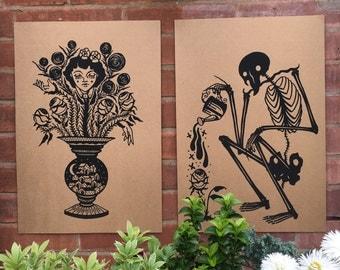 A3 skeleton screen print