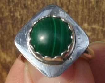 Diamondback Malachite Ring