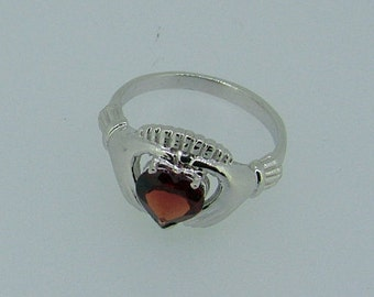 Gold claddagh ring-gold and garnet cladagh ring-garnet ring-gold ring with garnet-Claddagh Ring with gemstone