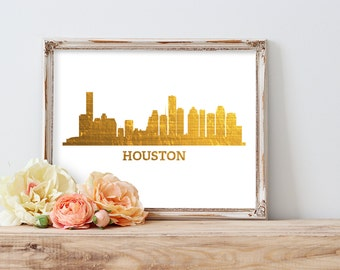 Houston Texas City Skyline Gold Foil Print FREE US SHIPPING