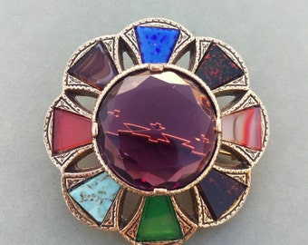 Jewel Tone Antique Stained Glass Art Brooch, Victorian jewelry, steampunk