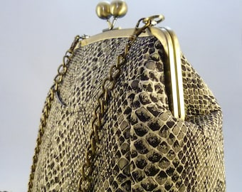 Faux Snake Skin Purse Frame Shoulder bag. Black, Cream, Green. Gift for her. Personalised. Unique. Handmade UK