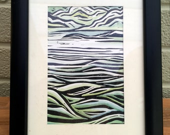 Vertical Seascape - Hand printed and painted