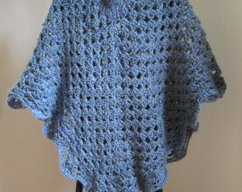 Crocheted Shawl, Pull-over, Blue
