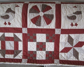 Hand Appliqued & Quilted Wall Hanging, Vintage