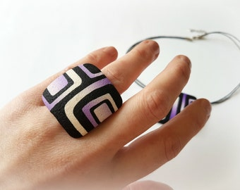 Geometric ring - Square ring - Retro ring - Statement ring - Big ring purple - Polymer clay ring