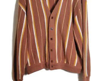 1970s Cardigan / 70s Cardigan Sweater / Striped Cardigan / Womens Vintage Sweater