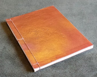 Unique Hand Dyed Tarnished Copper/Red Leather Japanese Stab Binding