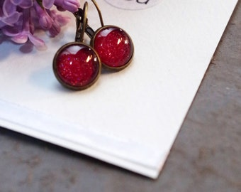 Bright red cabochon earrings