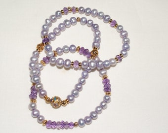 Trio of Lavender Freshwater Pearl  and Amethyst Bracelets with Cloisonné