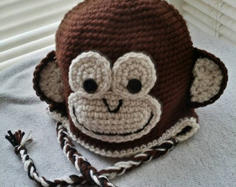 Baby Monkey Hat / Made to Order / Customizable / Any Size NB - 10 Years / Baby Boy or Baby Girl Unisex / Baby Shower Gift / First Birthday