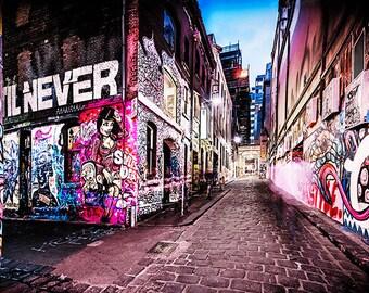 Melbourne street art photography fine art photograph wallart city graffiti Hosier Lane Rutledge Lane FREE SHIPPING within AUSTRALIA