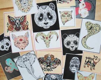 Dia de los Muertos Day of the Dead Animal Die Cut Party/Planner /Book Stickers/Computer Stickers