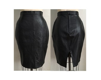 1980s Black Leather Skirt with Hip Panels