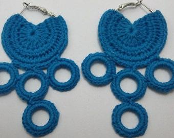 Crochet earrings in handmade on rings, Knitted jewelry, cotton yarn