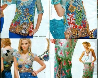 Russian Crochet Pattern E-Book issue with schemes in RUSSIAN LANGUAGE. Dress, Tunic, Top, Hats, Skirt, Irish Lase, Bruges lace